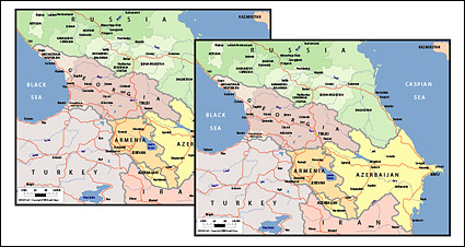 Vector map of the world exquisite material - the Caucasus ma