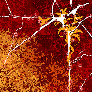 Cracks and flowers vector background material decadence