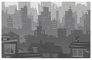 City silhouette vector cartoon-style material