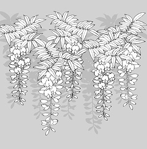 Japanese Line Drawing Of Plant Flowers Vector Material 12