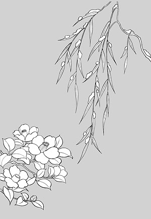 Japanese Line Drawing Of Plant Flowers Vector Material 16