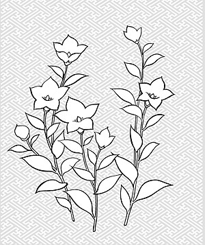 Japanese Line Drawing Of Plant Flowers Vector Material 28