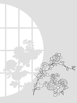Japanese line drawing of plant material -31 Vector flowers (