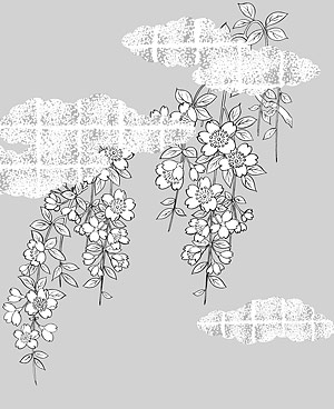 Japanese line drawing of plant material -38 Vector flowers (