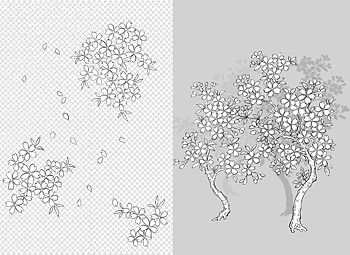Japanese line drawing of plant material -41 Vector flowers (