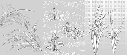 Japanese line drawing of plant material -48 Vector flowers (