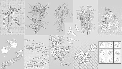 Japanese line drawing of plant material -50 Vector flowers (