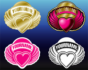 4 ribbon wings of the heart-shaped vector material