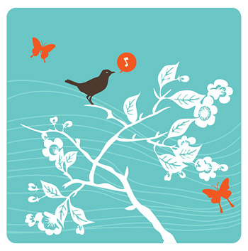 Singing birds vector material branches and singing birds vector