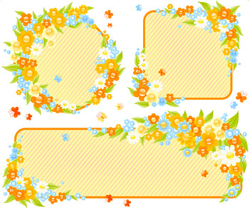 Cute little flower decoration frame vector material