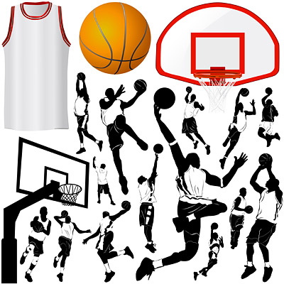 Vector elements of the theme of basketball material