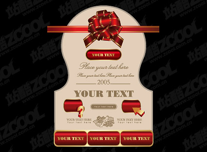 Continental Red Ribbon Ball Vector material