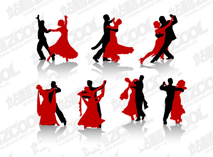Vector People silhouette dance material