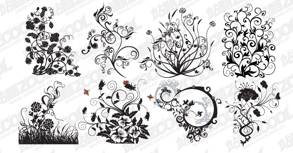 8 trends patterns and Plant Vector material