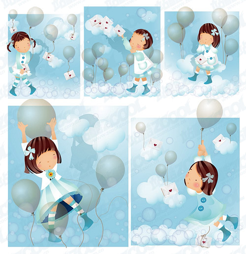 Blue Balloon theme (South Korea iClickart Four Seasons cute