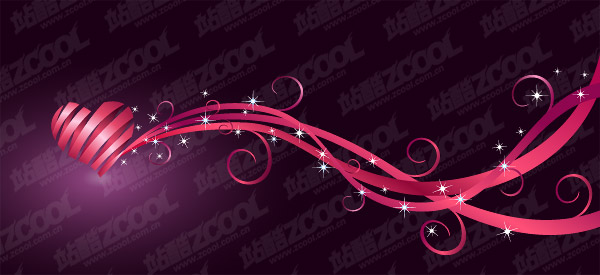 Ribbon composed of heart-shaped vector material