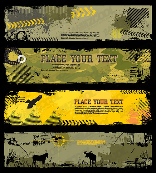 3 trend camouflage banner template  vector