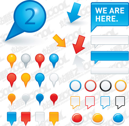Common dialogue bubble and buttons vector material