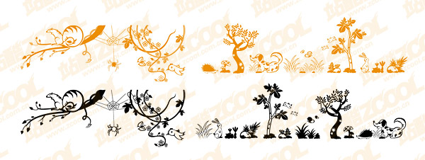 Cute Animal and Plant Vector material