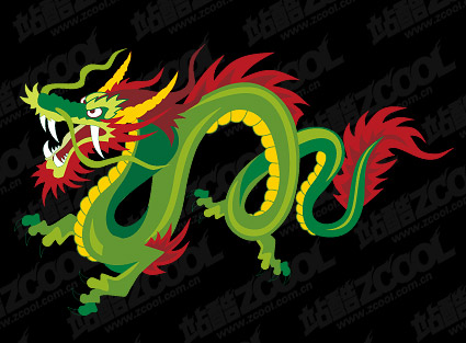 Color Chinese dragon vector material