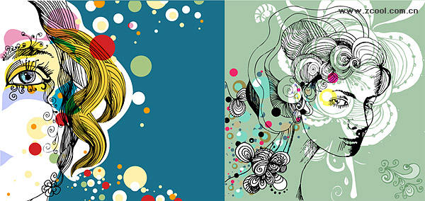 2, the trend of female illustrator vector material