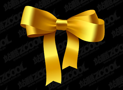 Gold Ribbon Bow vector material