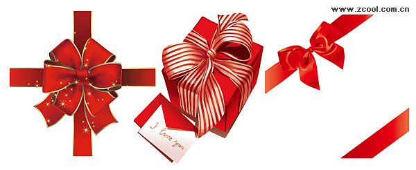 Red gift ribbon bow vector material
