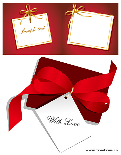 White cardboard ribbon bow vector material