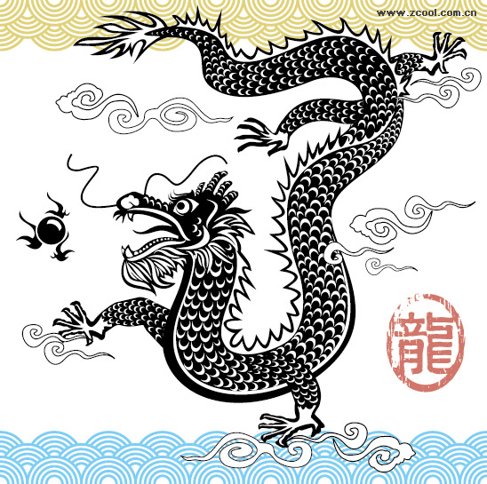 Black and white Chinese dragon vector material