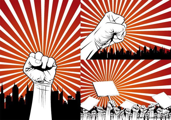 Fist protest against the series of vector material