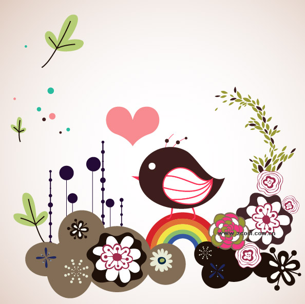 Lovely flowers, bird illustrator vector material