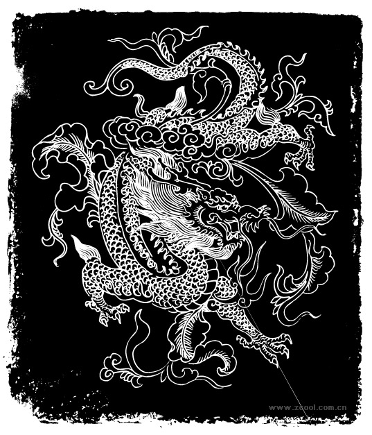 Chinese dragon vector sketch material