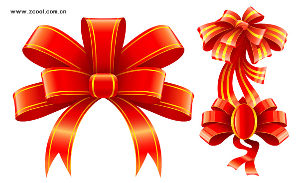 3 beautiful red ribbon vector material