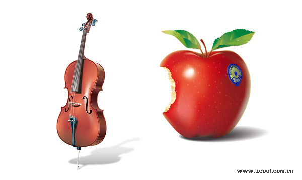 realistic violin and red apples vector graphic