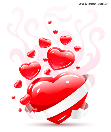 White ribbon three-dimensional heart-shaped vector material