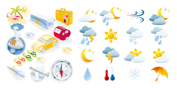 travel and weather icon vector graphic