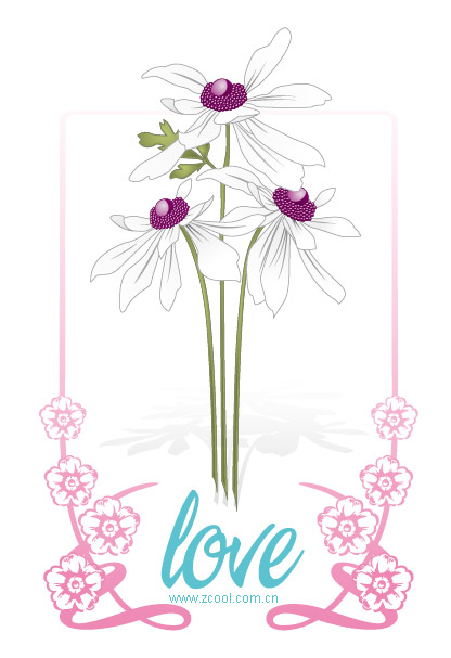 Vector love flowers, lace material