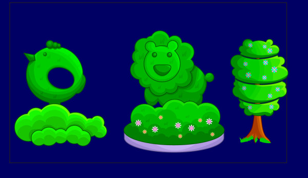 Vector cartoon flower bed material