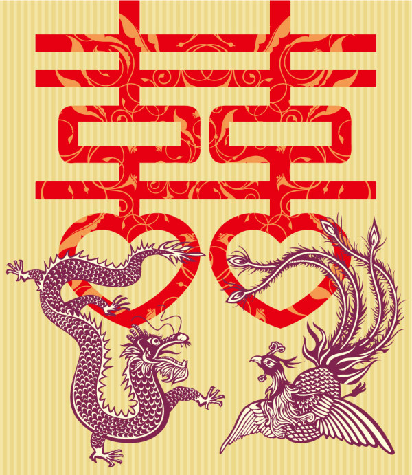 Double Happiness Dragon and Phoenix Vector material