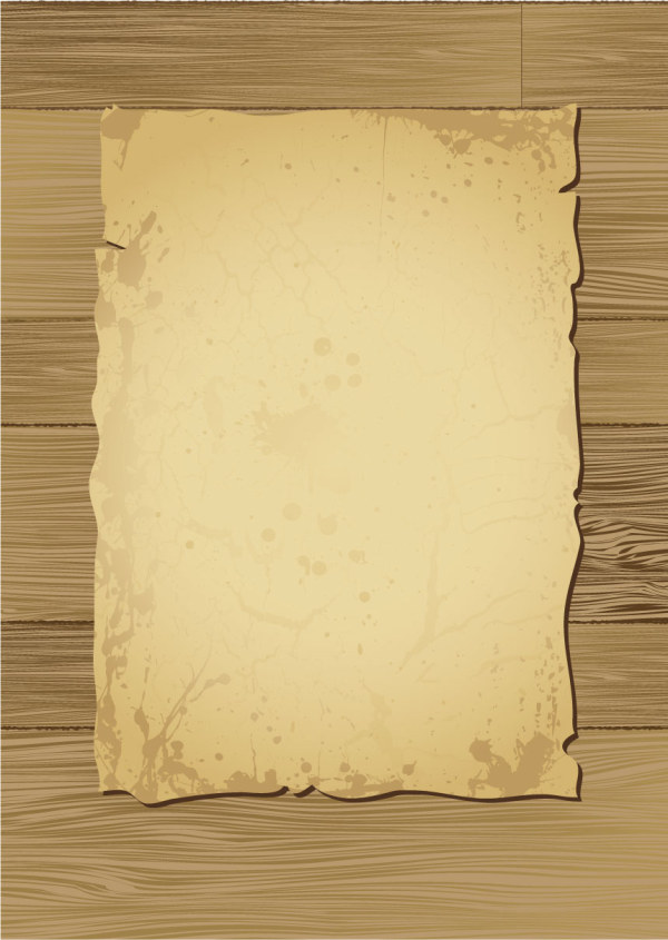 Wood Material With The Old Paper Vector