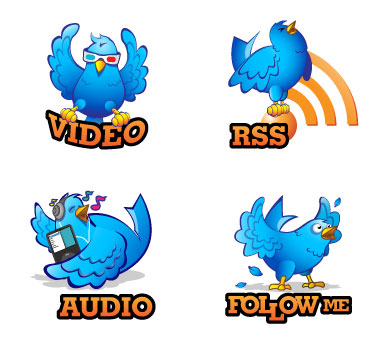 Twitter bird icon vector material