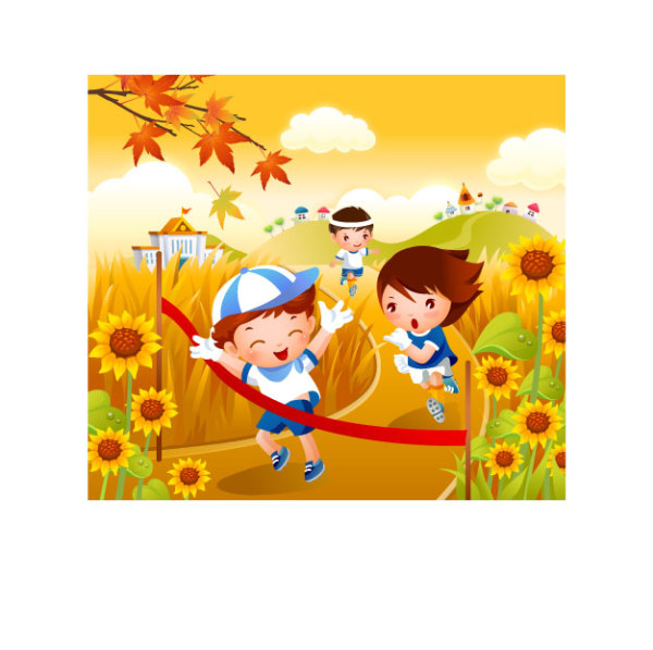 Cartoon Characters Running. Children Running Vector