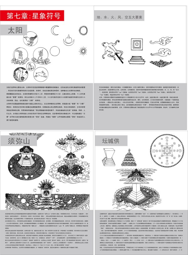 Tibetan Buddhist symbols and the objects map of the seven (a