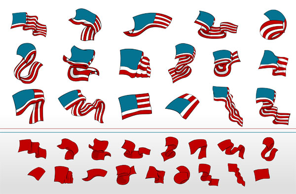 In a flowing ribbon banner vector material