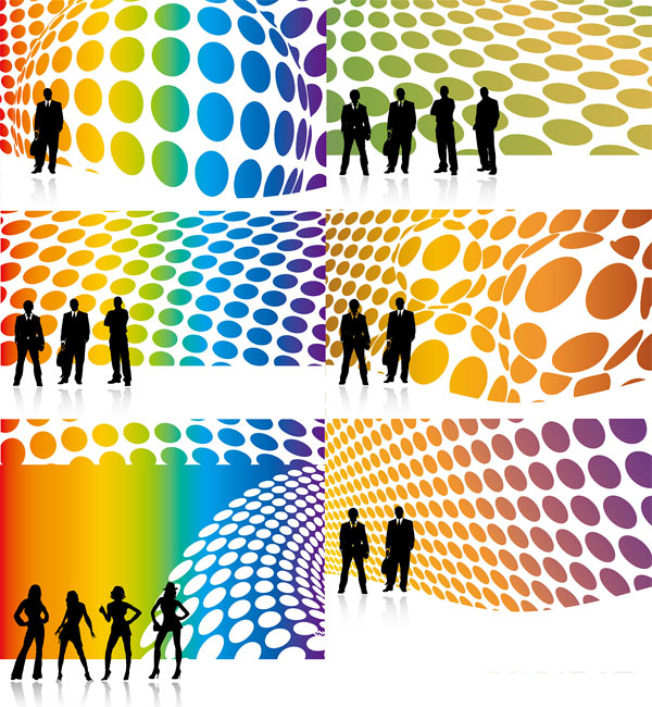Vector People silhouette and the 3D Background material