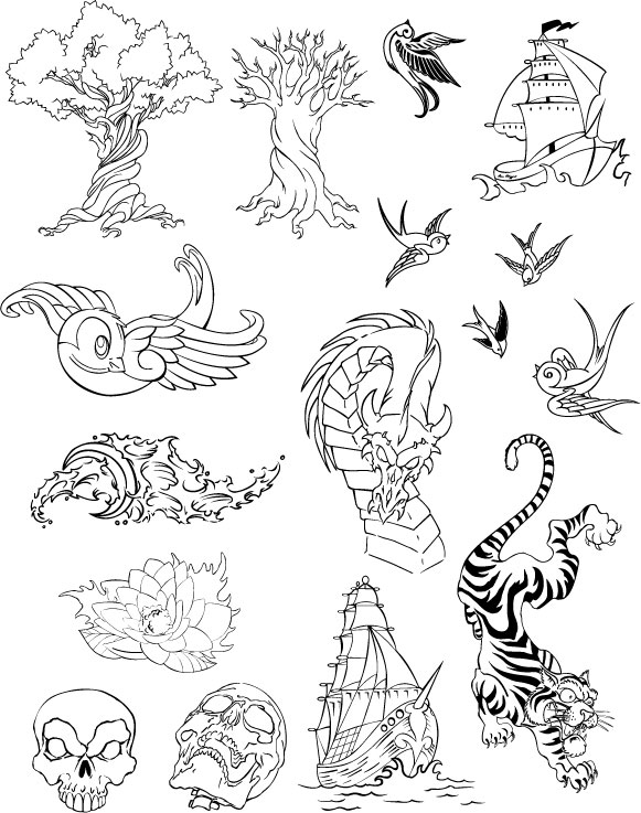 Number of line drawing vector graphics material