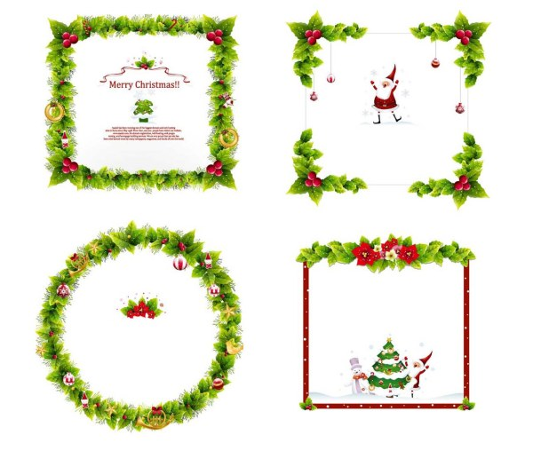 4 Christmas Garland Border Vector Graphic Graphic Hive
