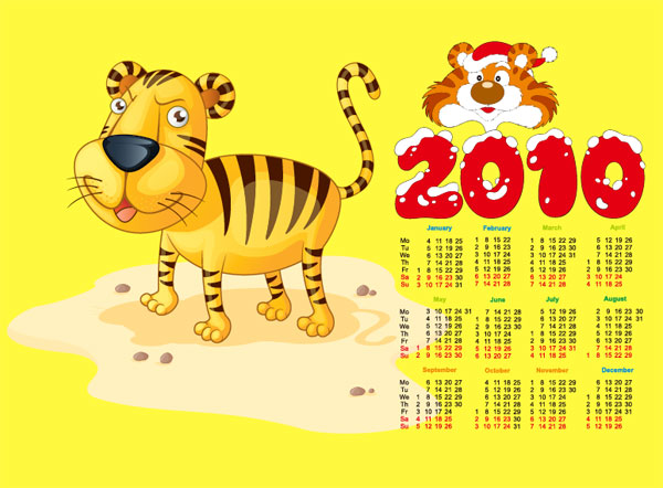 Cute tiger with the 2010 calendar vector material