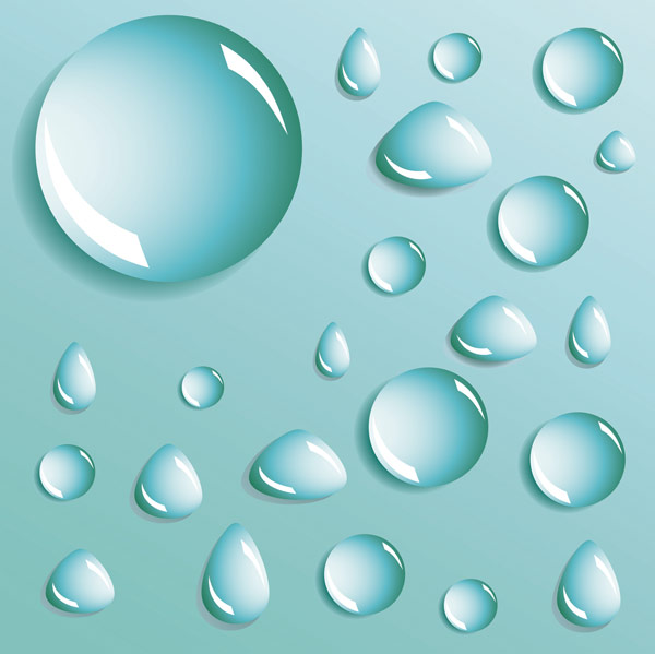 Different shapes of water drops water drops vector material