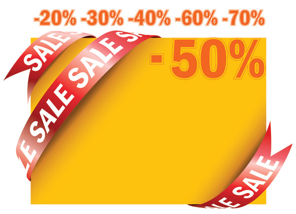 Sale Ribbon cards vector material